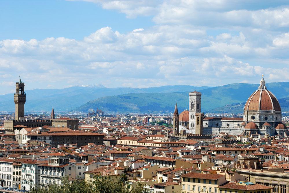 Panoram di Firenze con il Duomo e Palazzo Vecchio